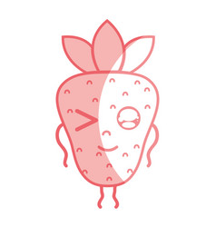 silhouette kawaii cute funny strawberry fruit vector image vector image
