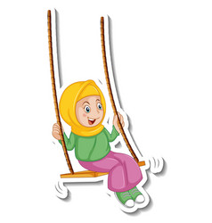 A sticker template with muslim girl playing swing vector