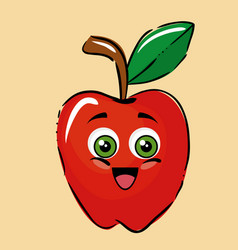 apple fruits comic characters vector image
