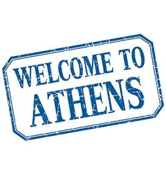 Athens - welcome blue vintage isolated label vector