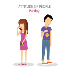 Attitude people parting couple split up vector