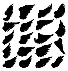 big set silhouettes wings on white vector image