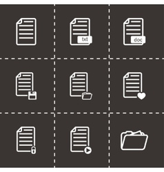 black documents icon set vector image