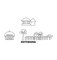 botswana line travel skyline set botswana outline vector image