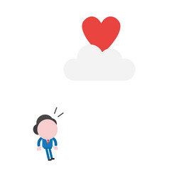 Businessman character looking heart to reach on vector
