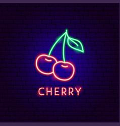 Cherry neon label vector