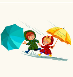 Children walking under raining sky vector