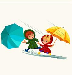 Children walking under raining sky with an vector