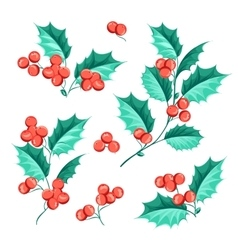 Christmas mistletoe holiday set vector