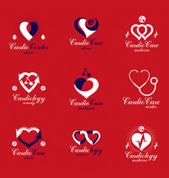 Collection of cardiology medical care emblems can vector