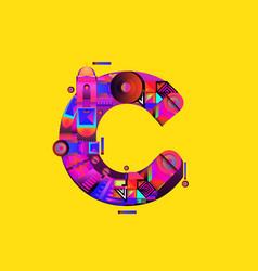 Colorful alphabet font letter c for logo vector