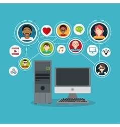 Computer and social network icon set vector image