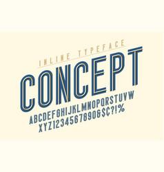 Condensed inline font typeface alphabet original vector