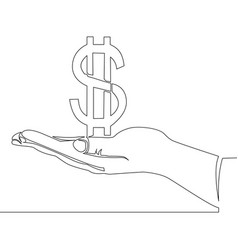 continuous one line hand hold dollar money concept vector image