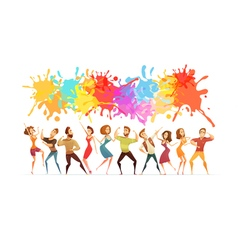 Dancing People Banner Colored Cartoon Banner vector image