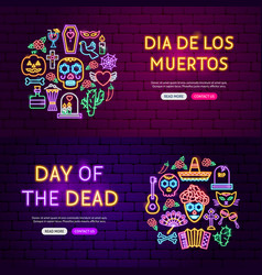 day dead website banners vector image