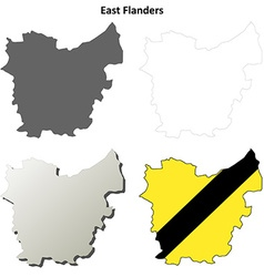 East flanders outline map set - flemish version vector