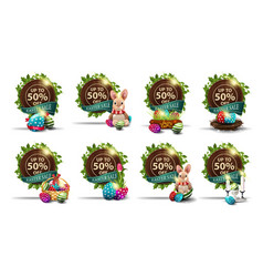 Easter sale up to 50 off set brown discount vector
