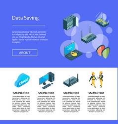 Electronic system of data center icons page vector