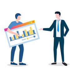 Employee presenting coworker statistics on board vector