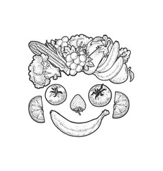 face made vegetables and fruits sketch vector image