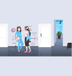 Family visiting female doctor in mask to prevent vector