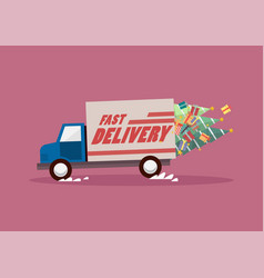 fast delivery truck carrying christmas trees and vector image