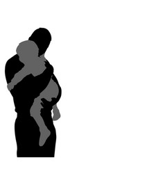 father carrying his son silhouette with copy space vector image