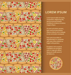 Flat poster or banner template with pizza pieces vector