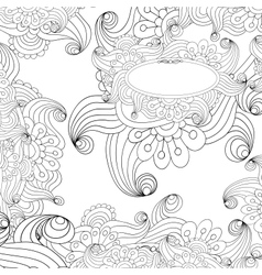 Floral decorative black and white background vector