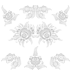 Floral grey elements in Gzhel style vector
