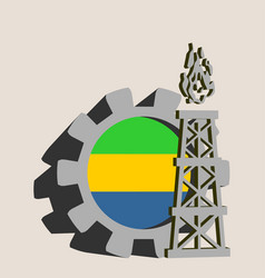 Gear with gas rig simple icon vector