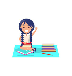 Girl with piles of books isolated vector