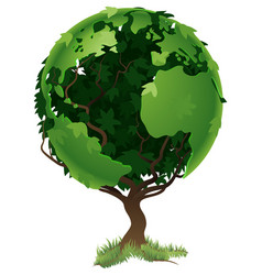Globe world tree concept vector