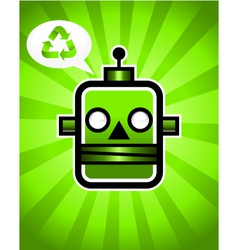 Green Recycling Retro Robot vector