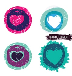 Grunge heart collection vector image