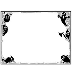 halloween frame with ghost silhouettes vector image