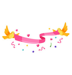 happy valentine day ribbon with birds vector image