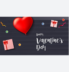 Happy valentine s day greeting card on wooden vector