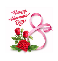 happy womens day lettering 8 march ribbon vector image