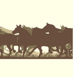 horizontal silhouette herd of horses vector image
