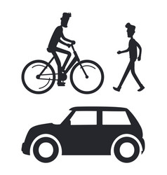 icons of people with transport vector image