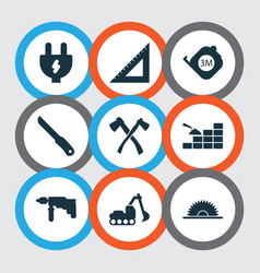 Industry icons set with straightedge drill vector