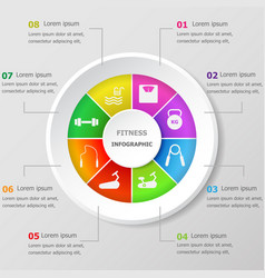 Infographic design template with fitness icons vector