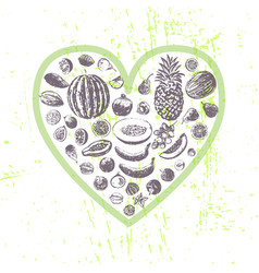 Ink hand drawn fruits in heart shape vector