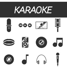 Karaoke icon set vector image