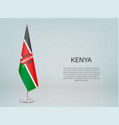 Kenya hanging flag on stand template vector