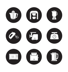 Kitchen electronics icons set vector