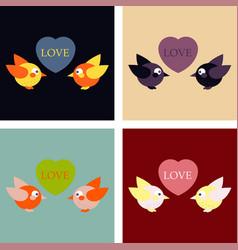 Laser cut template birds in love couple of birds vector