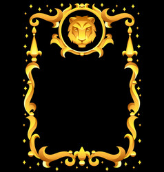 leo zodiac sign with golden frame horoscope vector image
